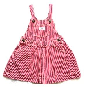 Oshkosh 4T Vertical striped overalls dress red